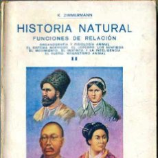 Libros antiguos: ZIMMERMANN : HISTORIA NATURAL - FUNCIONES DE RELACIÓN (GASSÓ, C. 1920). Lote 29231727