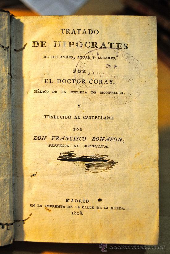Libros antiguos: 1808.- TRATADO DE HIPOCRATES DE LAS AYRES, AGUAS Y LUGARES. DOCTOR CORAY. RARISIMO EJEMPLAR. - Foto 2 - 29283681