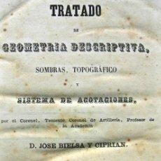 Libros antiguos: TRATADO DE GEOMETRÍA DESCRIPTIVA - SOMBRAS, TOPOGRÁFICOS, ACOTACIONES - BIELSA - SEGOVIA 1857. Lote 29318405