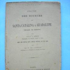 Libros antiguos: ANALYSE DES SOURCES DE SANTA CATALINA & GUADALUPE - GRANDE ILE CANARIE - MÉHU 1869 - GRAN CANARIA. Lote 29926535