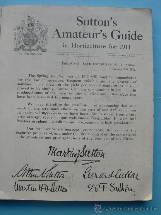 Libros antiguos: SUTTON´S AMATEUR´S GUIDE IN HORTICUTURE FOR 1911 (INGLÉS) - HORTICULTURA - Foto 2 - 29998771