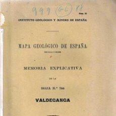 Libros antiguos: VALDEGANGA,MAPA GEOLOGICO DE ESPAÑA,MEMORIA EXPLICATIVA DE LA HOJA Nº 766,1932. Lote 30643929