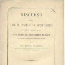 Libros antiguos: DISCURSO JARDÍN BOTÁNICO DE MADRID DE DON MIGUEL COLMEIRO - 1881 - SIN USAR, MUY BUENO.. Lote 31814346