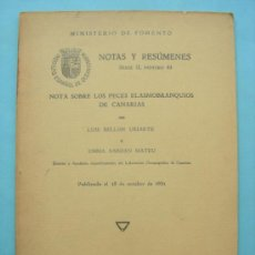 Libros antiguos: NOTAS Y RESÚMENES. MINISTERIO DE FOMENTO SERIE II Nº 53. PECES ELASMOBRANQUIOS DE CANARIAS. 1931. Lote 32003043