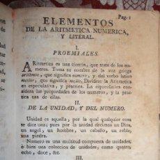 Libros antiguos: 5951- ELEMENTOS DE LA ARITMETICA NUMERICA Y RUDIMENTOS A LA RAZON. 2 LIBROS EN 1 VOL.. Lote 35091380