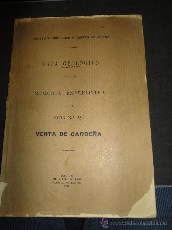 MAPA GEOLOGICO, MEMORIA EXPLICATIVA DE LA HOJA 882, VENTA DE CARDEÑA, MADRID 1931 (Libros Antiguos, Raros y Curiosos - Ciencias, Manuales y Oficios - Paleontología y Geología)