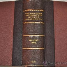 Libros antiguos: TRANSACTIONS OF THE AMERICAN INSTITUTE OF MINING ENGINEERS. VOL. XXXV. RM51283. Lote 35228219