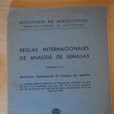 Libros antiguos: 1933.- REGLAS INTERNACIONALES DE ANÁLISIS DE SEMILLAS. REPUBLICA ESPAÑOLA. Lote 35960258