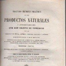 Libros antiguos: TRATADO TEÓRICO PRÁCTICO DE LOS PRODUCTOS NATURALES, 2ª PARTE, LUIS Mª UTOR Y SUAREZ, MADRID 1862. Lote 36082874