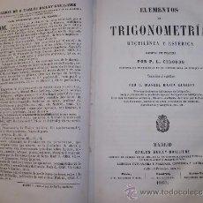 Libros antiguos: ELEMENTOS DE TRIGONOMETRÍA RECTILÍNEA Y ESFÉRICA (MADRID, 1860).. Lote 37074795