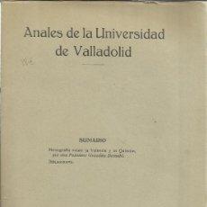 Libros antiguos: ANALES DE LA UNIVERSIDAD DE VALLADOLID. MONOGRAFÍA SOBRE VALENCIA Y LA QUÍMICA. 1936. Lote 39259560