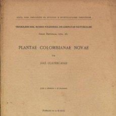 Libros antiguos: PLANTAE COLOMBIANAE NOVAE (J. CUATRECASAS) - 1933 - SIN USAR NUNCA.. Lote 40429847