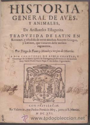 Aristoteles Historia General De Aves Y Animal Comprar