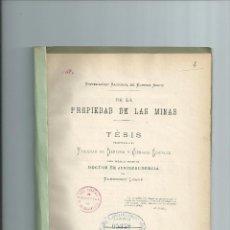 Libros antiguos: DE LA PROPIEDAD DE LAS MINAS - ELEODORO LOBOS - 1885 - RARÍSIMO - ARGENTINA. Lote 41577794