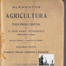 Libros antiguos: ELEMENTOS DE AGRICULTURA Y TÉCNICA AGRÍCOLA INDUSTRIAL SEGUNDA PARTE - JOSÉ MARÍA HERNANSAEZ. Lote 42774338