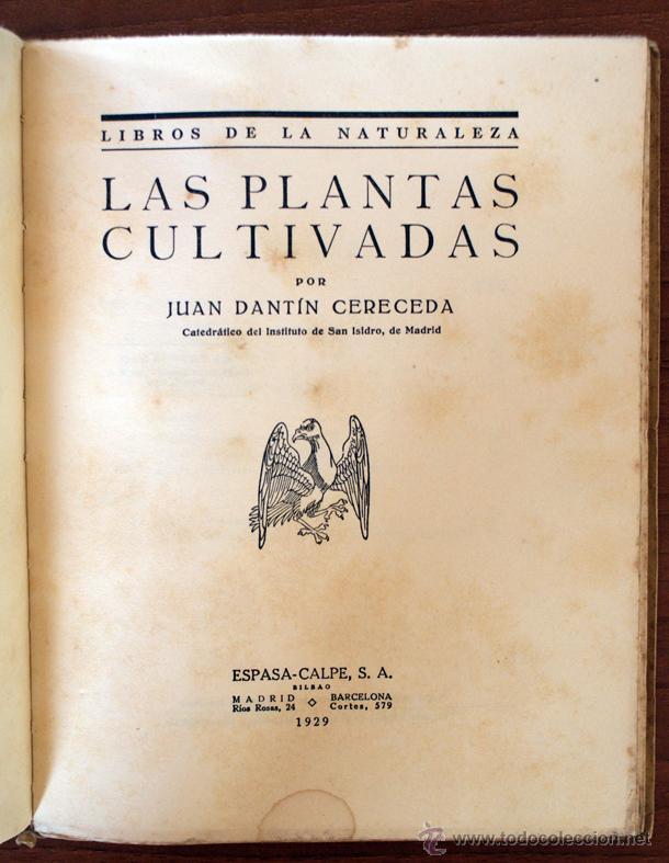 LAS PLANTAS CULTIVADAS. JUAN DANTÍN CERECEDA. 1929 (Libros Antiguos, Raros y Curiosos - Ciencias, Manuales y Oficios - Bilogía y Botánica)