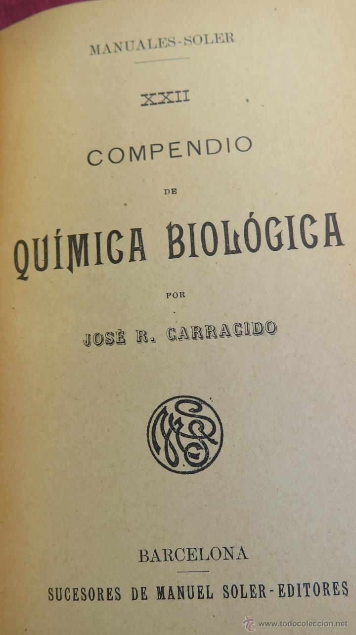 Libros antiguos: COMPENDIO DE QUIMICA BIOLOGICA. JOSÉ R. CARRACIDO. ILUSTRADO. MANUALES GALLACH - Foto 2 - 44760294