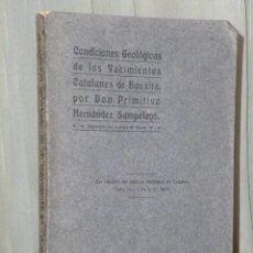 Libros antiguos: CONDICIONES GEOLÓGICAS DE LOS YACIMIENTOS CATALANES DE BAUXITA.(1920). Lote 45221039