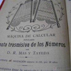 Libros antiguos: 1904 LIBRO AUXILIAR DE LA PAUTA TRASMISIVA DE LOS NÚMEROS D.R. MAS TAYEDA 2ª ED AMPLIADA, BARCELONA. Lote 46079051