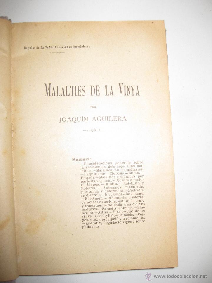Libros antiguos: MALALTIES DE LA VINYA. JOAQUIM AGUILERA.1898. REGALO DE LA VANGUARDIA A SUS SUSCRIPTORES. - Foto 3 - 46165573