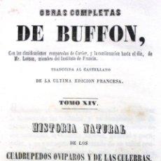 Libros antiguos: BUFFON. TOMO XIV. HISTORIA NATURAL DE LOS CUADRÚPEDOS OVÍPAROS Y DE LAS CULEBRAS. 1848. TOMO I. Lote 46770567