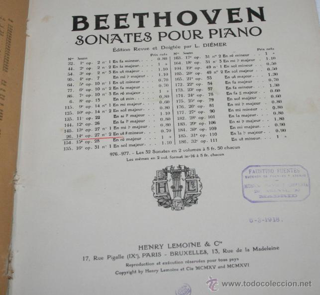 Libros antiguos: BEETHOVEN, EDICION PETERS, PIANO SOLO, + SONATAS DE MOZART LIBRO ANTIGUO DE MUSICA DE 1915 - Foto 8 - 48647596