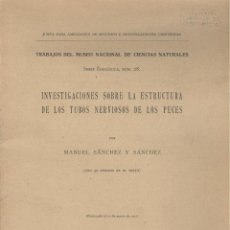 Libros antiguos: MANUEL SANCHEZ. SOBRE LA ESTRUCTURA DE LOS TUBOS NERVIOSOS DE LOS PECES. MADRID, 1917. Lote 48684543
