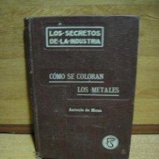 Libros antiguos: COMO SE COLORAN LOS METALES - ANTONIO DE MENA - AÑO 1913. Lote 49153944