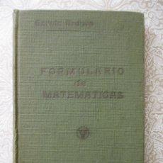 Libros antiguos: FORMULARIOS DE MATEMATICAS, GARCIA ARDURA.ARITMETICA,ALGEBRA,GEOMETRIA,TRIGONOMETRIA,GEOM. ANALITICA. Lote 49343853