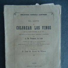 Libros antiguos: 'EL ARTE DE COLOREAR LOS VINOS CON EL COLOR NATURAL DE LA UVA' DR. PRUNAIRE. PEREZ DE VILLAOZ 1881. Lote 49638701