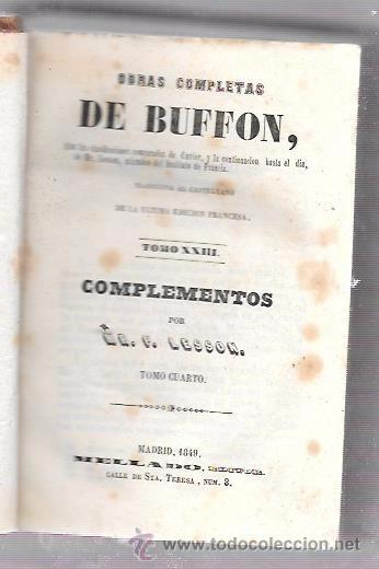 OBRAS COMPLETAS, DE BUFFON. HISTORIA NAT. TOMO 23-24. MR. P. LESSON. MELLADO EDITOR. MADRID, 1849. (Libros Antiguos, Raros y Curiosos - Ciencias, Manuales y Oficios - Paleontología y Geología)
