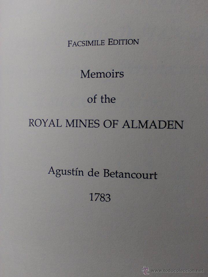 Libros antiguos: Memoria de las Reales Minas de Almadén.1783.Agustín de Betancourt. - Foto 2 - 50107262