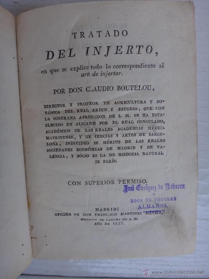 Libros antiguos: LIBRO TRATADO DEL INJERTO , 1817 , CLAUDIO BOUTELOU, ORIGINAL - Foto 2 - 50324293