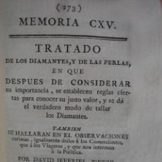 Libros antiguos: TRATADO DE LOS DIAMANTES Y DE LAS PERLAS SU TALLADO Y PRECIO. 1791.DAVID JEFFRIES.103 PG+2GRABADOS.. Lote 50695105