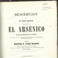 Libros antiguos: EL ARSÉNICO. DOCTOR DUAN MAGAZ. IMPRENTA DE TOMÁS GORCHS. BARCELONA. Lote 51726731