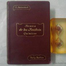 Libros antiguos: JARBOURIECH. TECNICA DE LOS ANÁLISIS QUÍMICOS. 1911. OBRA ILUSTRADA. Lote 51792219