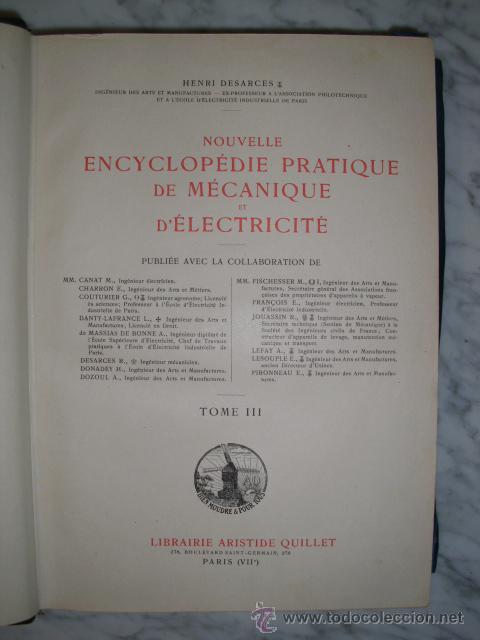 Libros antiguos: OCASIÓN – NOUVELLE ENCYCLOPÉDIE PRATIQUE DE MÉCANIQUE ET D´ELECTRICITÉ – 1924 TOMO III - Foto 4 - 52022439