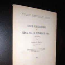Libros antiguos: ESTUDIO GEOLOGICO MINERO DE LA CUENCA HULLERA SUBMARINA DE ARNAO AVILES / IGNACIO PATAC / 1923. Lote 52584736