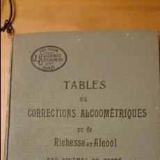 Libros antiguos: TABLES ET CORRECTIONS ALCOOMÉTRIQUES OU DE RICHESSE EN ALCOOL PAR DIXIÈMES DE DEGRÉ. TEXTO FRANCÉS. Lote 52698178