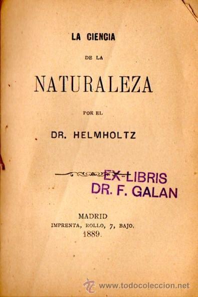 HELMHOLTZ : CIENCIA DE LA NATURALEZA (1889) (Libros Antiguos, Raros y Curiosos - Ciencias, Manuales y Oficios - Bilogía y Botánica)