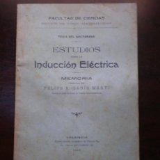 Libros antiguos: LIBRO O FOLLETO, ESTUDIO SOBRE LA INDUCCION ELECTRICA, VALENCIA 1907. Lote 53986681