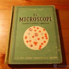 Libros antiguos: EL MICROSCOPI. ELEMENTS DE TÈCNICA I OBSERVACIÓ. S. MALUQUER I NICOLAU. 1936. (CATALÁN). Lote 54087302