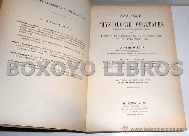 Libros antiguos: PICON, Antoine. Anatomie et Physiologie Végétales. Suivies de l étude élémentaire des principales f - Foto 2 - 54214331