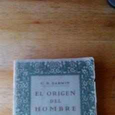Libros antiguos: DARWIN EL ORIGEN DEL HOMBRE EDITORIAL PROMETEO. Lote 54475127