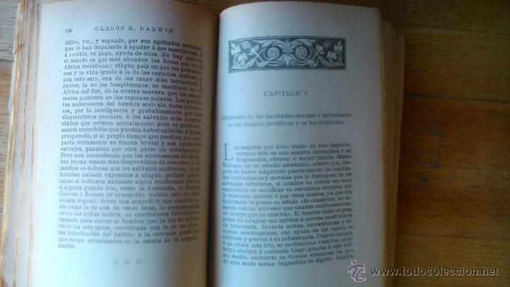 Libros antiguos: DARWIN EL ORIGEN DEL HOMBRE EDITORIAL PROMETEO - Foto 3 - 54475127