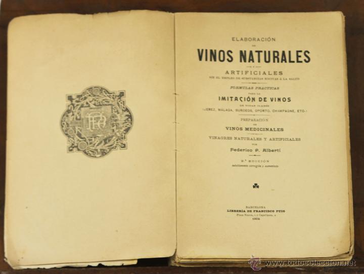 7083 - ELABORACIÓN DE VINOS NATURALES. P. ALBERTÍ. LIB. FRANCISCO PUIG. 1905. (Libros Antiguos, Raros y Curiosos - Ciencias, Manuales y Oficios - Bilogía y Botánica)