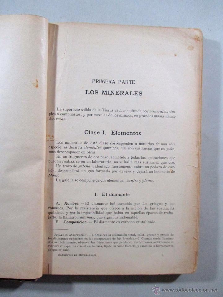 Libros antiguos: ELEMENTOS DE MINERALOGÍA , SCHMEIL PARDILLO , GUSTAVO GILI , BARCELONA 1926 - Foto 2 - 54941472