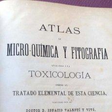 Libros antiguos: ATLAS DE MICRO-QUÍMICA Y FITOGRAFÍA - 1878 - DE DOCTOR IGNACIO VALENTÍ Y VIVÓ. Lote 56129314