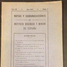Libros antiguos: NOTAS Y COMUNICACIONES DEL INSTITUTO GEOLOGICO Y MINERO DE ESPAÑA 1931. Lote 56697253