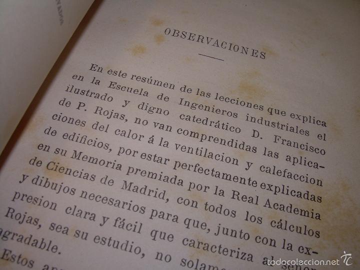Libros antiguos: LIBRO TAPAS DE PIEL.......APLICACIONES DEL CALOR....AÑO...1.885........CON GRABADOS. - Foto 2 - 56821476